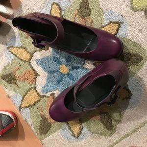 Dansko ankle strap platforms in purple, Size 8.
